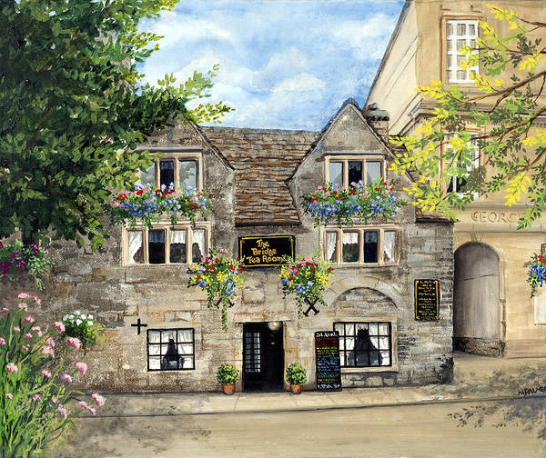 The Bridge Tea Rooms Poster featuring the painting The Bridge Tea Rooms by Mary Palmer