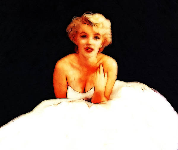 Marilyn Monroe Actress Sex Symbol Famous Star Beauty Blond Erotic Female Girl Woman Painting Expressionism Impressionism Oil Bride Lonely Sad Sadness Poster featuring the painting The Loneliest Bride by Steve K