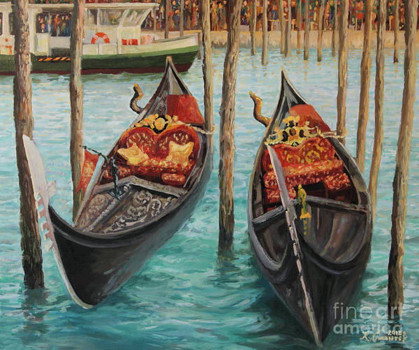 Adriatic Poster featuring the painting The Symbols Of Venice by Kiril Stanchev