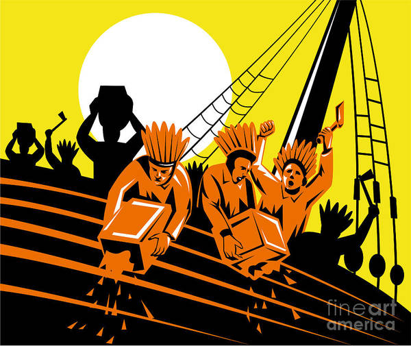 American Poster featuring the digital art Boston Tea Party Raiders Retro by Aloysius Patrimonio