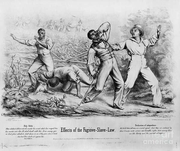 Historical Poster featuring the photograph Fugitive Slave Law by Photo Researchers