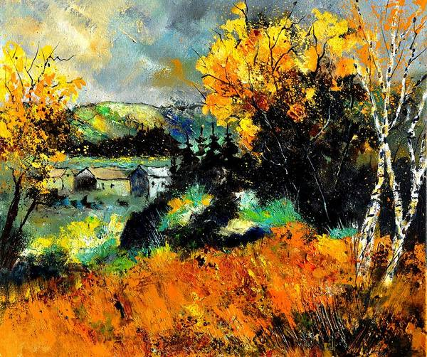 Landscape Poster featuring the painting Autumn In Ardennes 672101 by Pol Ledent