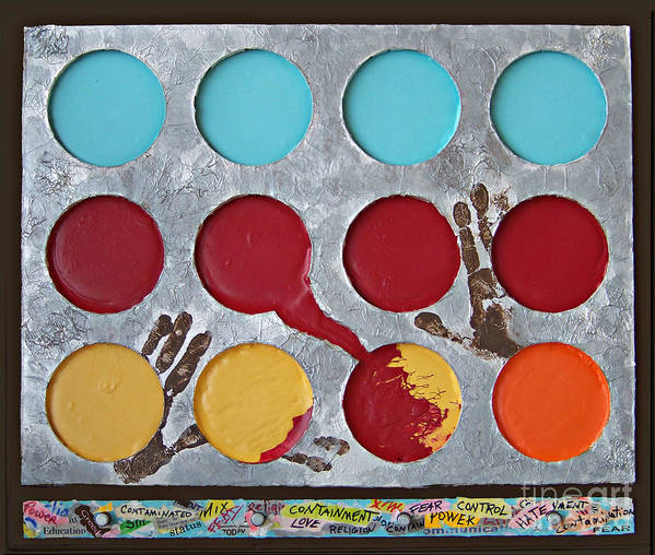 Circles Poster featuring the mixed media Containment - 2012 by Tammy Ishmael - Eizman