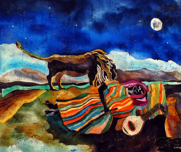 Silk Poster featuring the tapestry - textile Gypsy Tribute To Henri Rousseau by Sandra Kern
