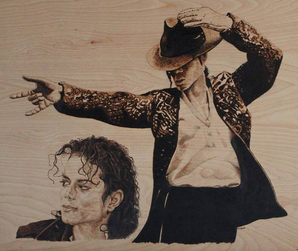 Michael Poster featuring the pyrography Michael Jackson by Michael Garbe