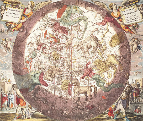 Northern (boreal) Hemisphere Poster featuring the drawing Northern Boreal Hemisphere From The Celestial Atlas by Pieter Schenk