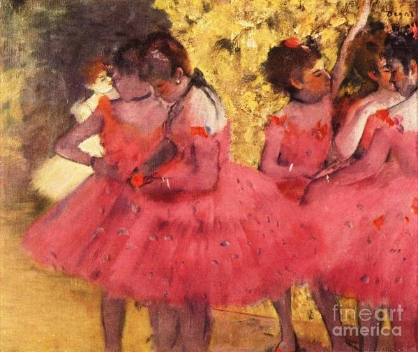 Pd Poster featuring the painting Pink Dancers Before Ballet by Pg Reproductions