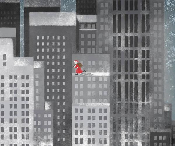 Horizontal Poster featuring the digital art Santa Clause Running On A Skyscraper by Jutta Kuss