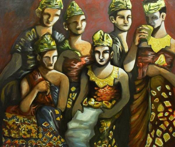 Balinese Performers Poster featuring the painting Taking A Break by Fakhri Bohang