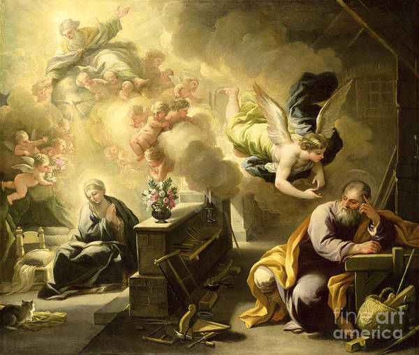 Saint Poster featuring the painting The Dream Of Saint Joseph by Luca Giordano