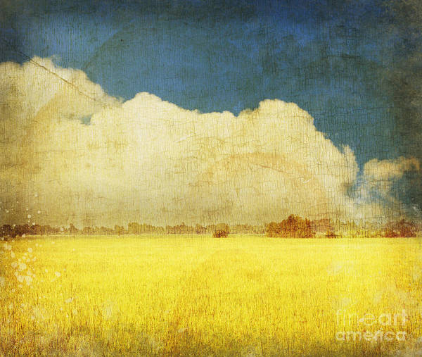 Abstract Poster featuring the photograph Yellow Field by Setsiri Silapasuwanchai