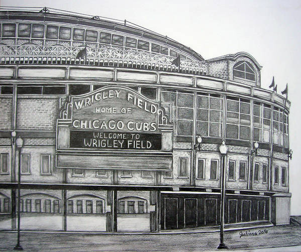 Wrigley Field Poster featuring the drawing Wrigley Field by Juliana Dube