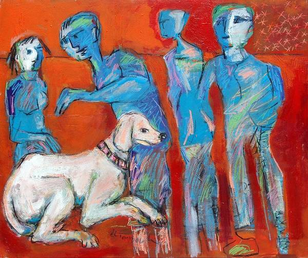 New Caultcher -dog In Family Poster featuring the painting Painting by Ibrahim El tanbouli