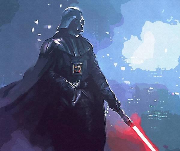 Star Wars Darth Vader Poster featuring the digital art A Star Wars Art by Larry Jones