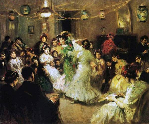 A Flamenco Party At Home Poster featuring the painting A Flamenco Party At Home by Francis Luis Mora