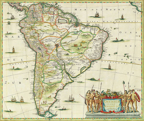 South America; Atlantic Ocean; Pacific; American; Continent Poster featuring the painting America Pars Meridionalis by Joannes Jansson