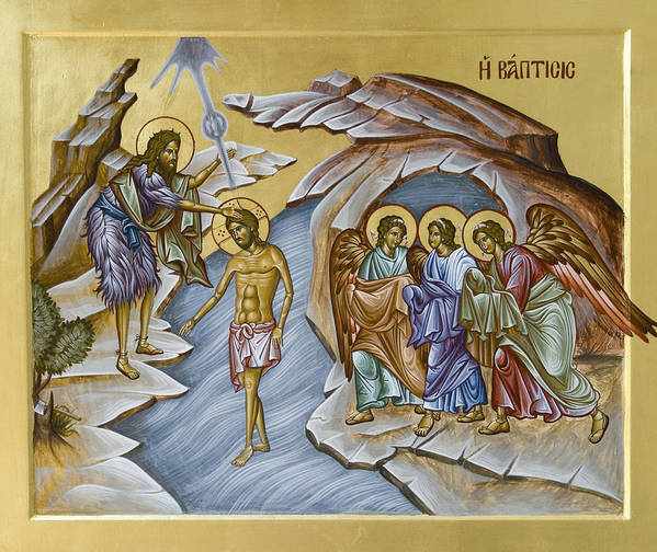 Icon Poster featuring the painting Baptism by Julia Bridget Hayes