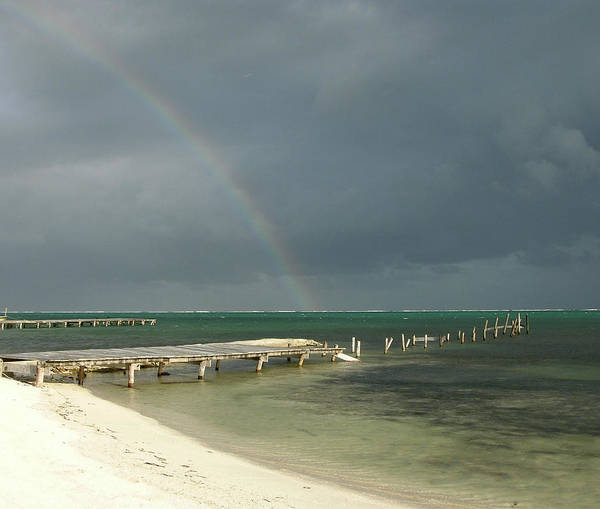 Pier Poster featuring the photograph Belize Rainbow And Broken Pier by Jessica Estrada
