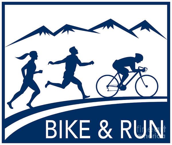 Marathon Poster featuring the digital art Bike Cycle Run Race by Aloysius Patrimonio