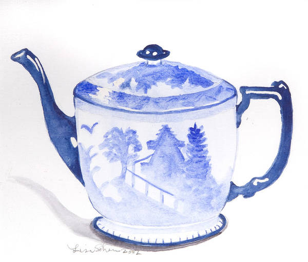 Teapot Poster featuring the painting Blue Willow Teapot by Lisa Schorr