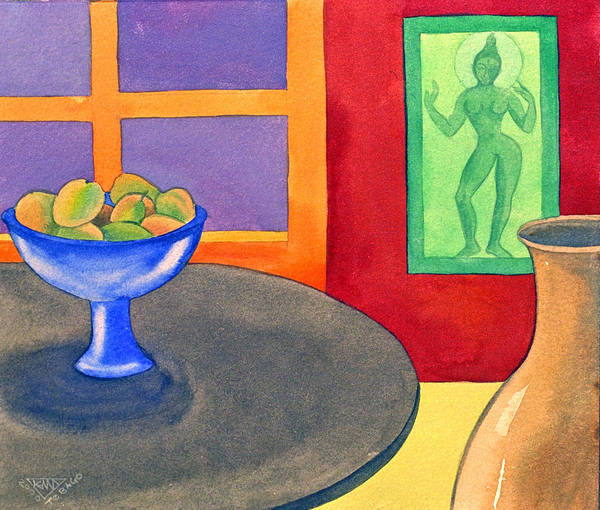 Interior Still Life Indian Deity Poster featuring the painting Bowl Of Mangoes by Jennifer Baird