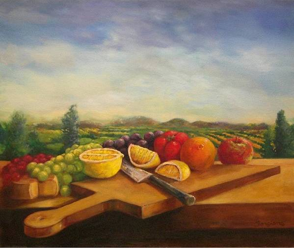 Carving Board Poster featuring the painting Carving Board by Tom Forgione