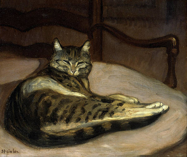 Theophile-alexandre Steinlen Poster featuring the painting Cat On A Chair by Theophile-Alexandre Steinlen