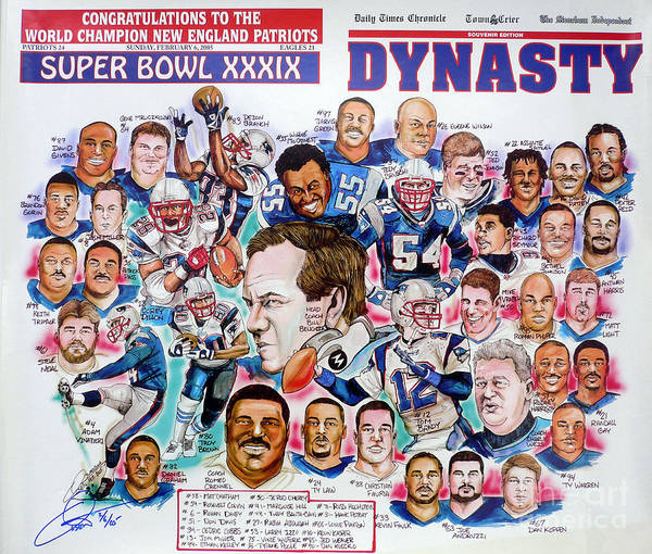 Nfl Poster featuring the drawing Championship Patriots Newspaper Poster by Dave Olsen