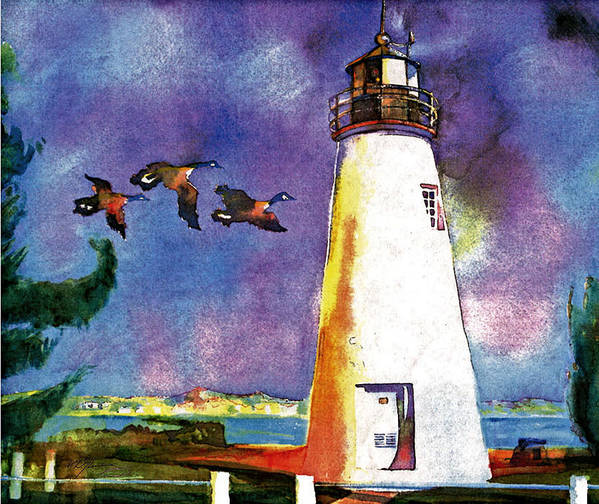Watercolor Poster featuring the painting Concord Point Lighthouse by Dean Gleisberg