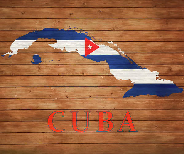 Cuba Rustic Map On Wood Poster featuring the mixed media Cuba Rustic Map On Wood by Dan Sproul