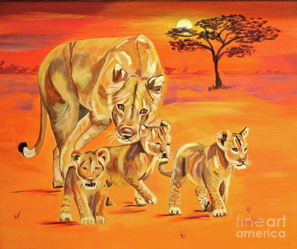 Lioness Poster featuring the painting Do What Mom Says by Phyllis Kaltenbach