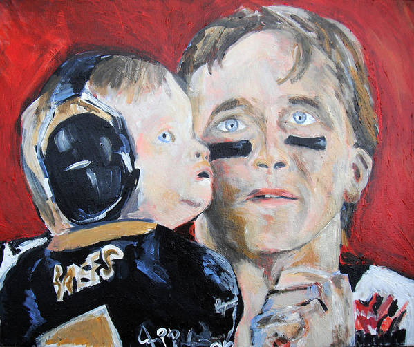 Saints Poster featuring the painting Drew Brees And Son by Jon Baldwin Art