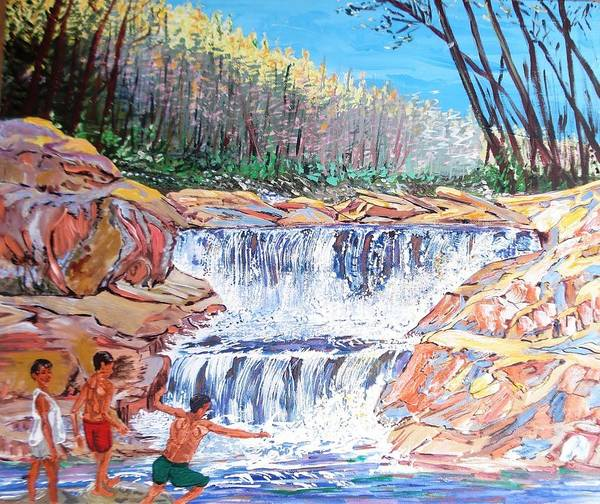 Boys Poster featuring the painting Enjoying Waterfall by Narayan Iyer