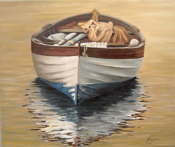 Boats Reflection Seascape Water Poster featuring the painting Evening Boat by Natalia Tejera