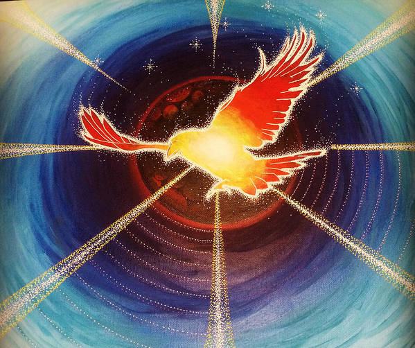 Bird Poster featuring the painting Fiery Raven by Gary Michael Evans