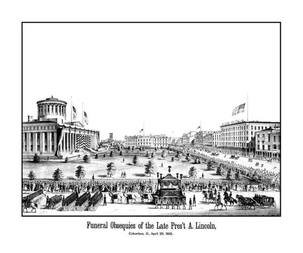 Lincoln Funeral Poster featuring the drawing Funeral Obsequies Of President Lincoln by War Is Hell Store
