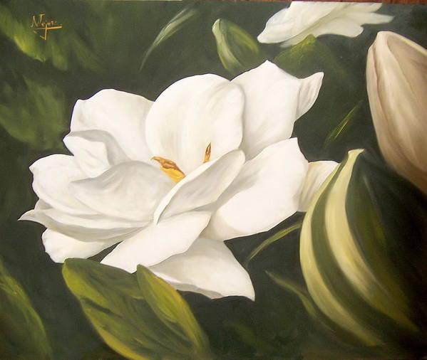 Gardenia Flower Poster featuring the painting Gardenia by Natalia Tejera