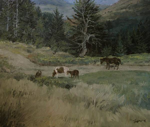 Landscape Poster featuring the painting Grazing by Richard Ong