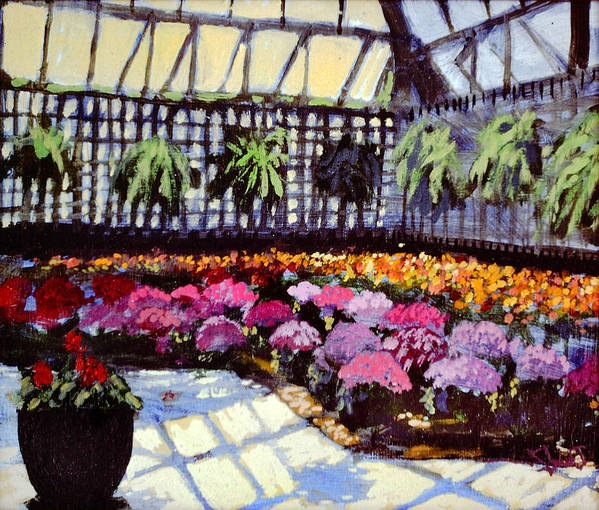 The Greenhouse At Brookside Gardens Poster featuring the painting Hothouse by David Zimmerman