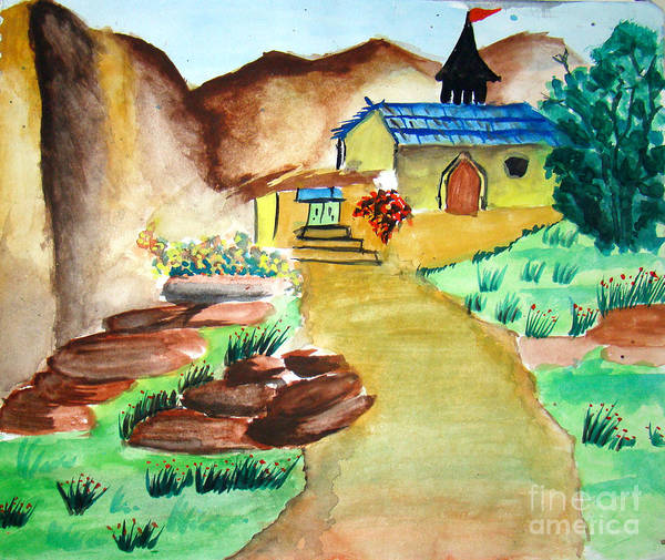 Hills Poster featuring the painting House In Hills by Tanmay Singh