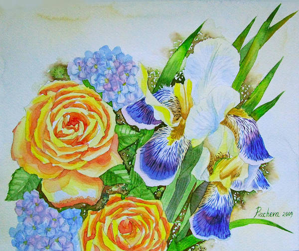 Roses Poster featuring the painting Irises And Rores. by Natalia Piacheva