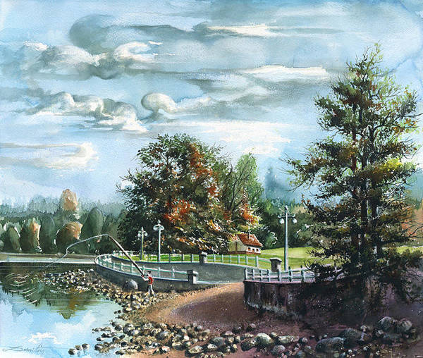Landscape Poster featuring the painting Lucky Day Rocky Point Park by Dumitru Barliga