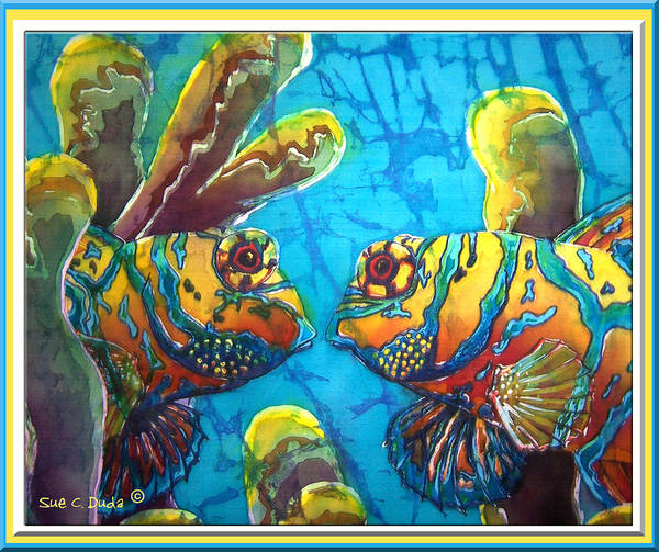 Mandarinfish Poster featuring the painting Mandarinfish- Bordered by Sue Duda