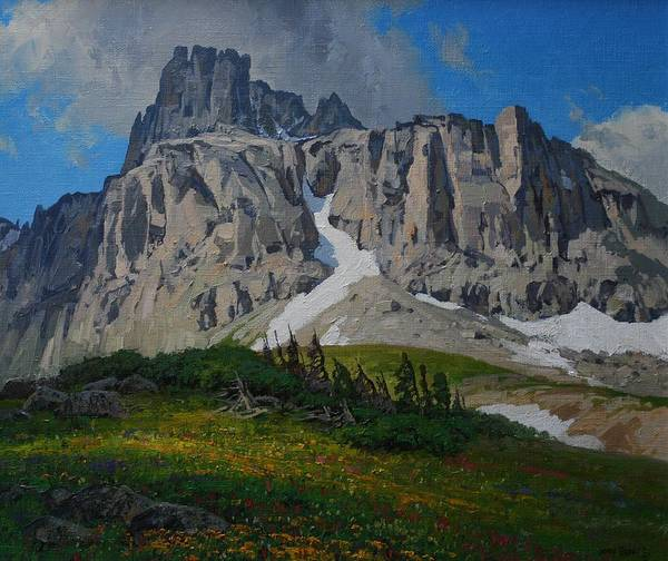 Landscape Poster featuring the painting Mendota Peak by Lanny Grant
