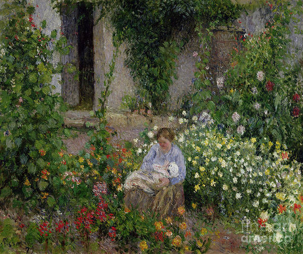 Mother Poster featuring the painting Mother And Child In The Flowers by Camille Pissarro