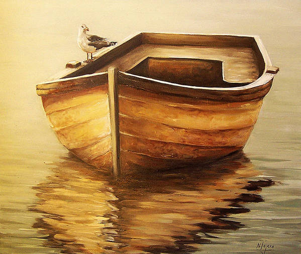 Seascape Poster featuring the painting Old Boat by Natalia Tejera