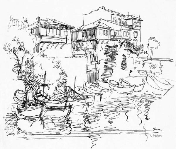Houses Poster featuring the drawing Old Houses And Boats by Iliyan Bozhanov