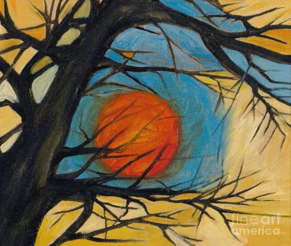 Absract Tree Landscape Original Painting Leila Atkinson Moon Poster featuring the painting Orange Moon by Leila Atkinson
