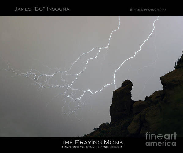 Praying Monk Poster featuring the photograph Praying Monk Lightning Striking Poster Print by James BO Insogna