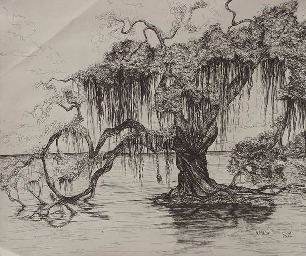 Louisiana Poster featuring the drawing Rope Swing by Sarah Lonthier
